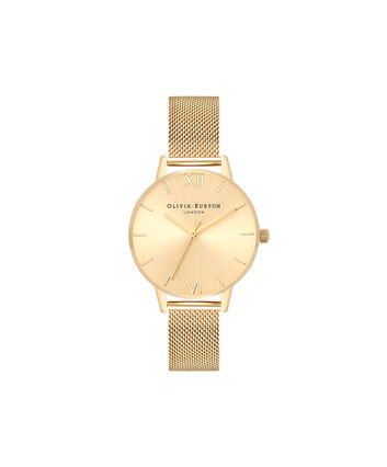 OLIVIA BURTON LONDON  Sunray Dial Midi Dial Gold Mesh OB16MD85 – Midi Dial Round in Gold - Front view