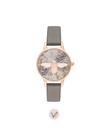 OLIVIA BURTON LONDON Midi 3D Bee Vegan London Grey & Rose GoldOB16CS19 – Midi Dial in London Grey and Rose Gold - Front view