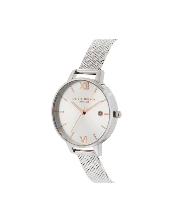OLIVIA BURTON LONDON Sunray Demi Dial Watch with Boucle MeshOB16DE01 – Demi Dial in silver and Silver & Rose Gold - Side view