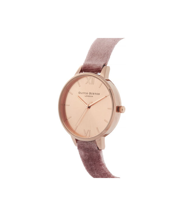 OLIVIA BURTON LONDON Sunray Demi Dial Watch with Rose VelvetOB16DE03 – Demi Dial in pink and Rose Gold - Side view