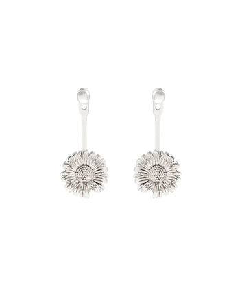 OLIVIA BURTON LONDON  Daisy Jacket Earrings Silver OBJ16DAE21 – 3D Daisy Jacket Earrings - Front view