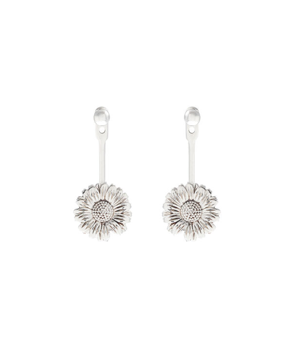 OLIVIA BURTON LONDON  Daisy Jacket Earrings Silver OBJ16DAE21 – 3D Daisy Jacket Earrings - Front view