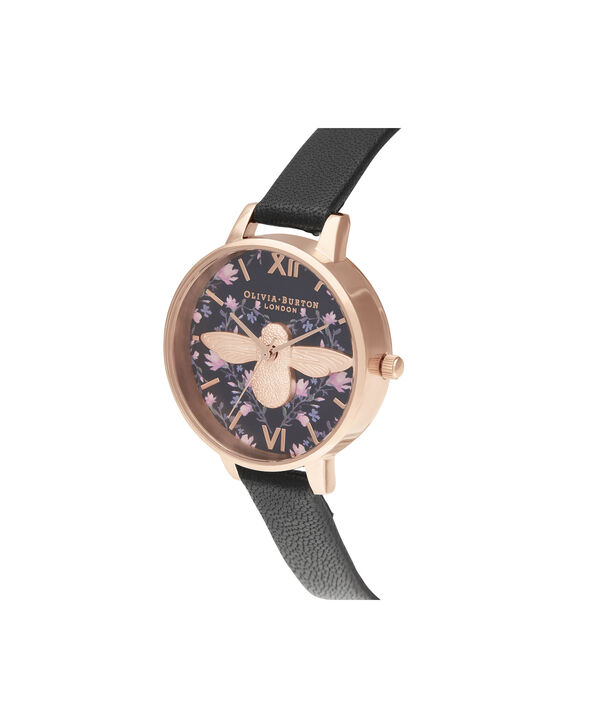 OLIVIA BURTON LONDON Meant to Bee Demi Black & Rose GoldOB16AM165 – Demi Dial In Black And Rose Gold - Side view