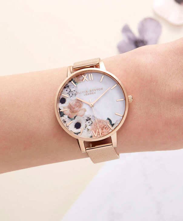 OLIVIA BURTON LONDON  Marble Florals Rose Gold Mesh OB16MF13 – Big Dial Round in Rose Gold - Other view