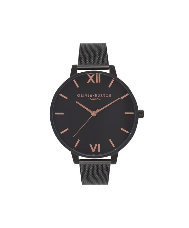 OLIVIA BURTON LONDON  After Dark IP Black Mesh Watch OB15BD83 – Big Dial Round in Black - Front view