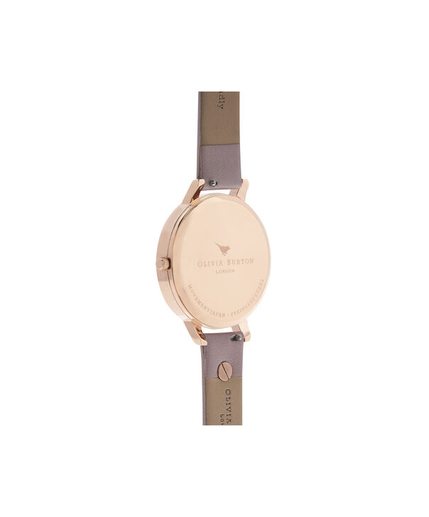 OLIVIA BURTON LONDON  3D Bee Embellished Strap Soft Rose & Rose Gold Watch OB16ES15 – Big Dial Round in White and Rose Gold - Back view
