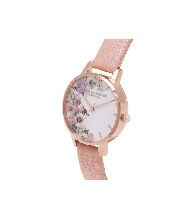 OLIVIA BURTON LONDON  Enchanted Garden Dusty Pink & Rose Gold Watch OB16EG56 – Midi Dial in White Floral and Pink - Side view