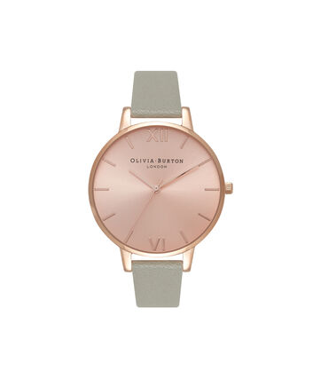 OLIVIA BURTON LONDON Sunray DialOB16BD98 – Big Dial Round in Rose Gold and Grey - Front view