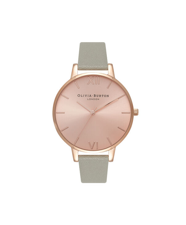 Ladies Big Dial Grey & Rose Gold Watch | Olivia Burton London