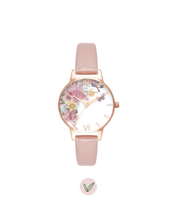 OLIVIA BURTON LONDON Enchanted Garden Vegan Rose Sand & Rose GoldOB16EG100 – Midi Dial Round in Rose Gold - Front view