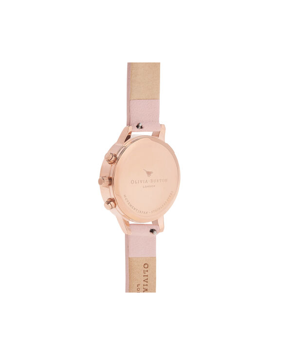 OLIVIA BURTON LONDON  Chrono Demi Dial Dusty Pink & Rose Gold OB16CGS07 – Demi Dial Round in Rose Gold and Pink - Back view