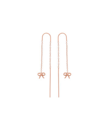 OLIVIA BURTON LONDON  Vintage Bow Threader Earrings Rose Gold OBJ16VBE13 – Vintage Bow Threader Earrings - Front view