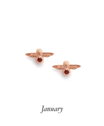 OLIVIA BURTON LONDON Celebration Bee Studs Rose Gold & GarnetOBJAME96 – Celebration Bee Studs Rose Gold & Garnet - Front view