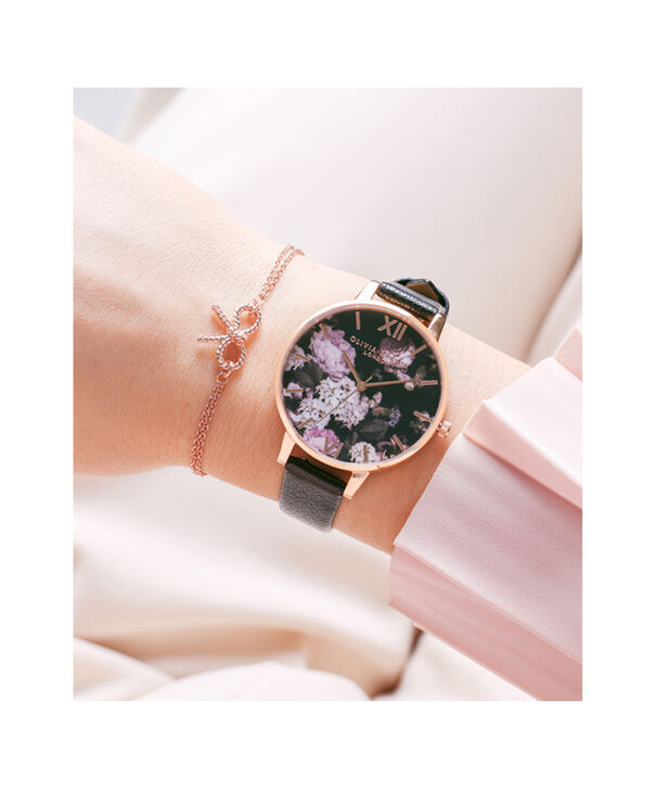OLIVIA BURTON LONDON  Signature Floral Black & Rose Gold Watch OB15WG12 – Big Dial Round in Floral and Black - Other view