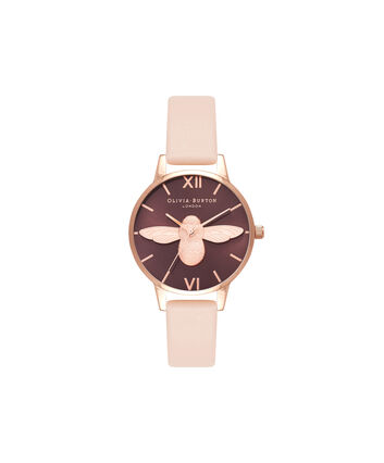 OLIVIA BURTON LONDON 3D BeeOB16AM124 – Midi Dial Chocolate and Peach - Front view