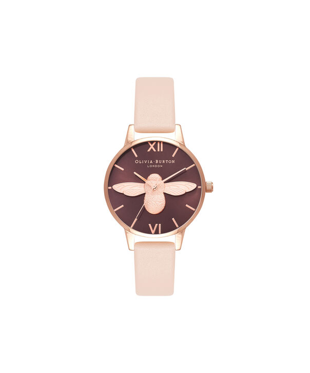 OLIVIA BURTON LONDON  3D Bee Nude Peach & Rose Gold Watch OB16AM124 – Midi Dial Chocolate and Peach - Front view