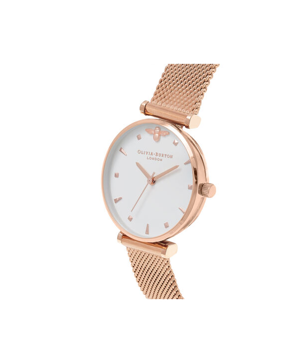 OLIVIA BURTON LONDON  Rose Gold Mesh Watch OB16AM105 – Midi Dial in White and Rose Gold - Side view