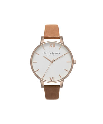 OLIVIA BURTON LONDON  White Dial Tan & Rose Gold Watch OB16BDW19 – Big Dial Round in White and Tan - Front view
