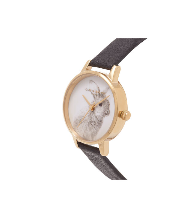 OLIVIA BURTON LONDON Vegan Friendly Woodland Bunny Black & Gold WatchOB15WL57 – Midi Dial Round in White and Black - Side view
