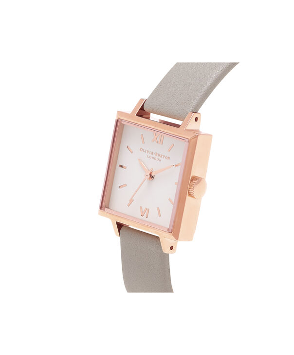 OLIVIA BURTON LONDON  Big Dial Square Dial Grey & Rose Gold Watch OB16SS03 – Midi Dial Square in White and Grey - Side view