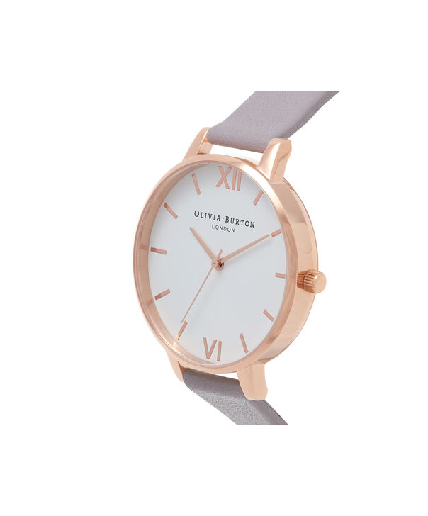 OLIVIA BURTON LONDON  White Dial Grey Lilac & Rose Gold Watch OB16BDW16 – Big Dial in White and Grey Lilac - Side view