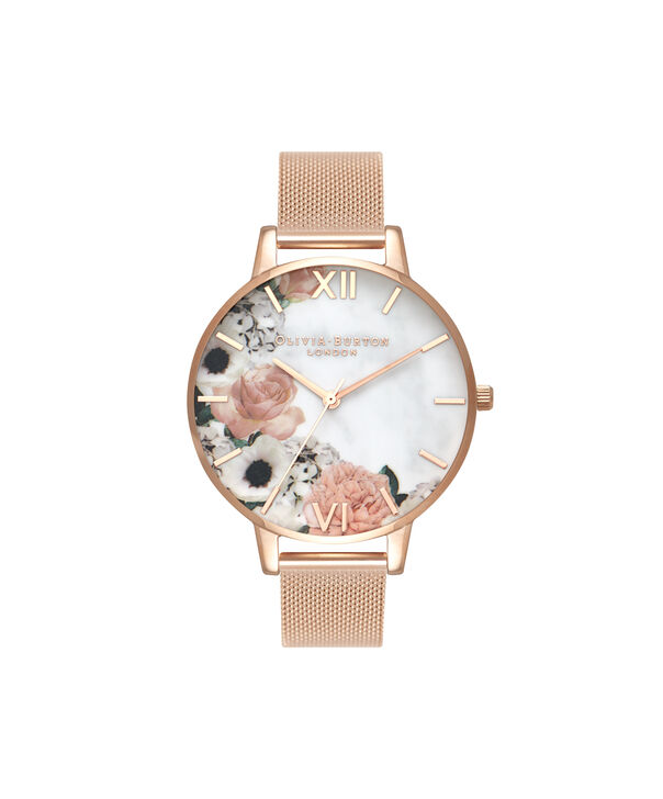 OLIVIA BURTON LONDON  Marble Florals Rose Gold Mesh OB16MF13 – Big Dial Round in Rose Gold - Front view