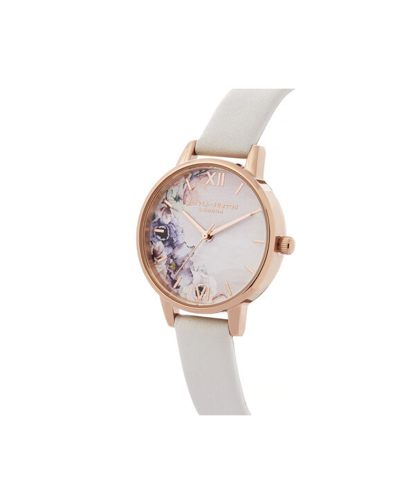 OLIVIA BURTON LONDON Watercolour Florals Midi Dial WatchOB16PP54 – Midi Dial in pink and Rose Gold - Side view
