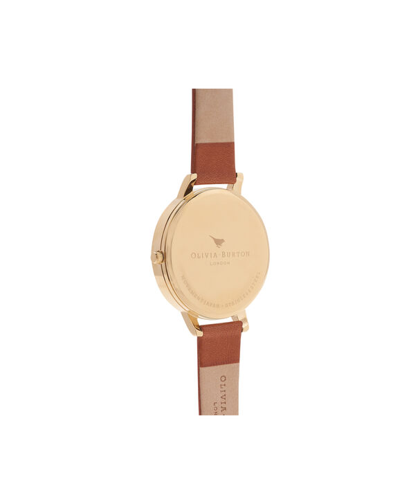 OLIVIA BURTON LONDON  Painterly Prints Tan & Gold Watch OB14FS02 – Big Dial Round in Tan and Rose Gold - Back view
