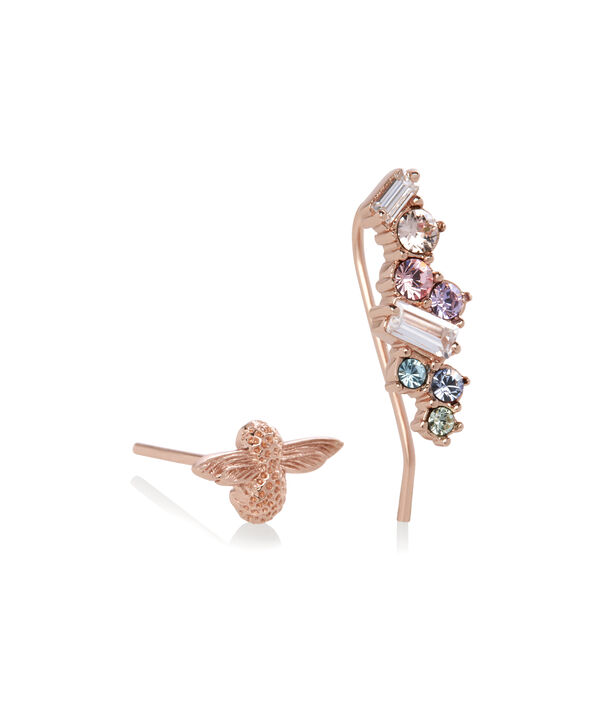OLIVIA BURTON LONDON Rainbow Bee Crawler & Stud Rose GoldOBJAME125 – Earrings in Rose Gold - Side view