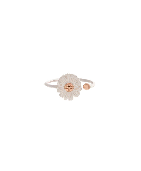 OLIVIA BURTON LONDON  Daisy Ring Silver & Rose GoldOBJ16DAR02 – 3D Daisy Ring - Front view
