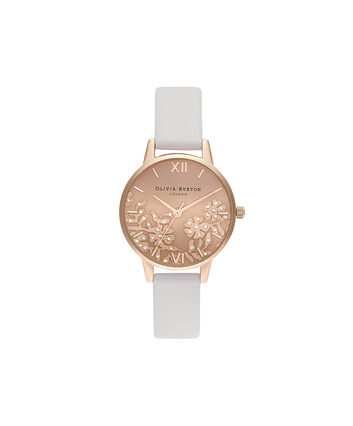 OLIVIA BURTON LONDON Bejewlled Lace  Blush & Pale Rose GoldOB16MV102 – Bejewlled Lace  Blush & Pale Rose Gold - Front view