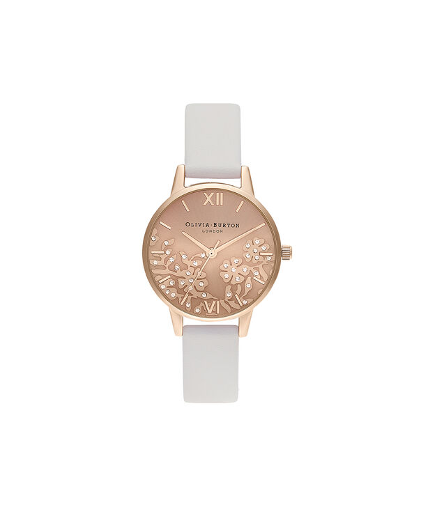 OLIVIA BURTON LONDON Bejewelled Lace  Blush & Pale Rose GoldOB16MV102 – Bejewlled Lace  Blush & Pale Rose Gold - Front view