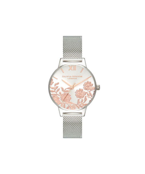 OLIVIA BURTON LONDON  Lace Detail Rose Gold & Silver Mesh OB16MV90 – Midi Dial Round in Silver - Front view