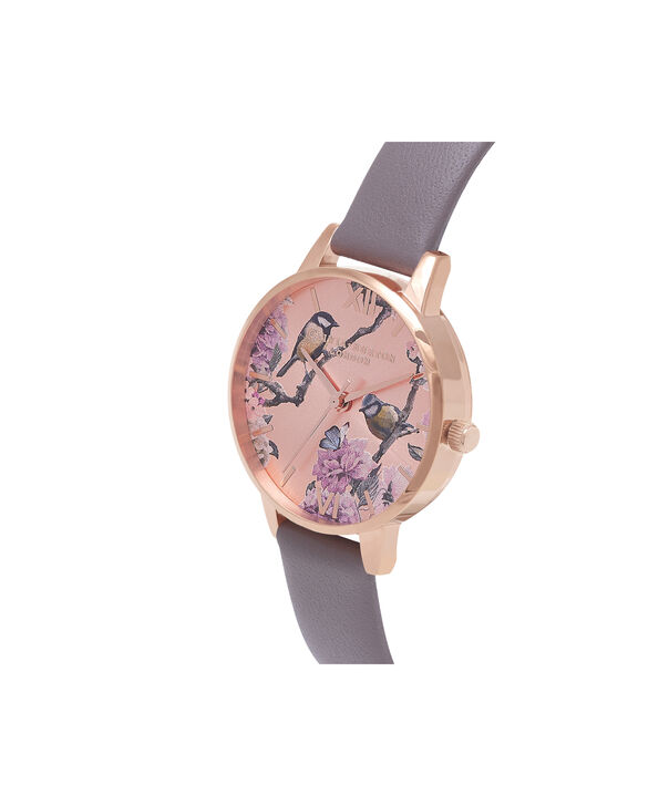 OLIVIA BURTON LONDON  Pretty Blossom Rose Gold & London Grey Watch OB16PL36 – Midi Dial Round in London Grey and Rose Gold - Side view