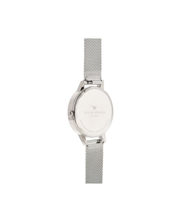 OLIVIA BURTON LONDON Grey Dial Mesh, Rose Gold & SilverOB16MD95 – Midi Dial Round in Rose Gold and Silver - Back view