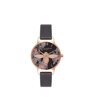 OLIVIA BURTON LONDON  Botanical 3D Bee Black & Rose Gold Watch OB16AM100 – Midi Dial Round in Floral and Black - Front view