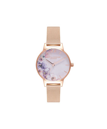 OLIVIA BURTON LONDON Watercolour FloralsOB16PP39 – Midi Dial Round in White and Rose Gold - Front view