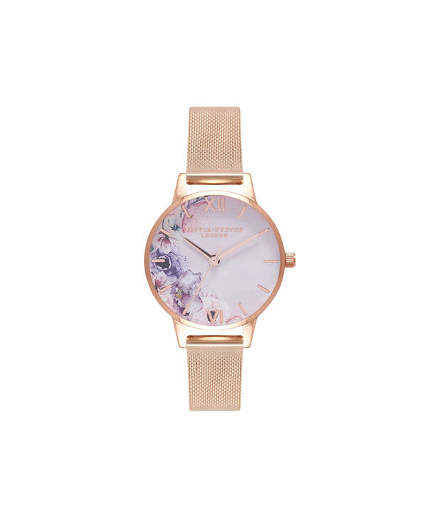 OLIVIA BURTON LONDON  Watercolour Florals Gold Mesh Watch OB16PP39 – Midi Dial Round in White and Rose Gold - Front view