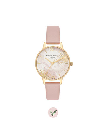 OLIVIA BURTON LONDON  Abstract Florals Vegan Rose Sand & Gold OB16VM31 – Midi Dial Round in Gold and Pink - Front view