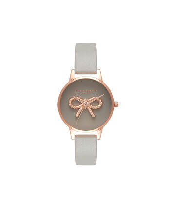 OLIVIA BURTON LONDON  3D Vintage Bow Grey & Rose Gold Watch OB16VB04 – Midi Dial Round in Grey - Front view