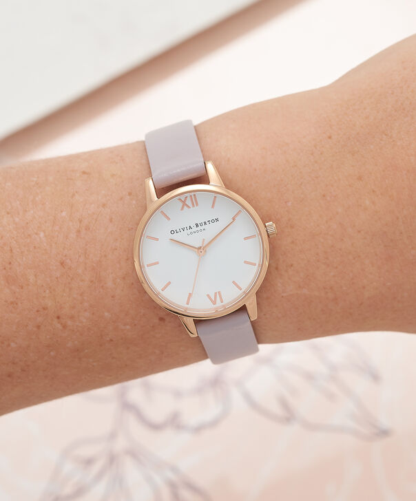 OLIVIA BURTON LONDON  Midi Dial Grey Lilac & Rose Gold Watch OB16MDW32 – Midi Dial Round in White and Grey Lilac - Other view