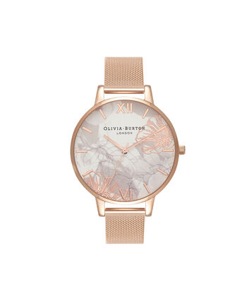 OLIVIA BURTON LONDON Abstract Florals Rose Gold Mesh Watch OB16VM15 – Big Dial in White and Rose Gold - Front view