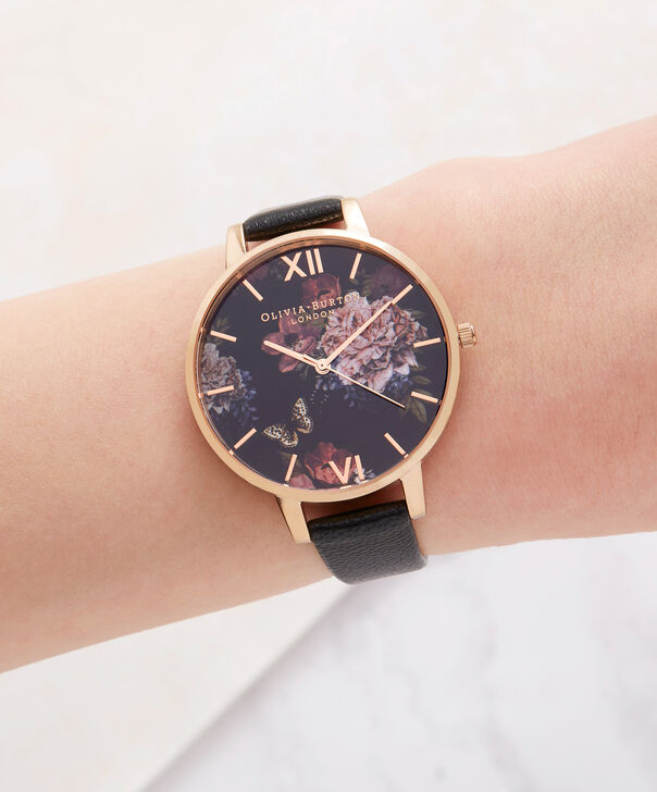 OLIVIA BURTON LONDON  Dark Bouquet Black & Rose Gold Watch OB16WG42 – Big Dial Round in Rose Gold - Other view