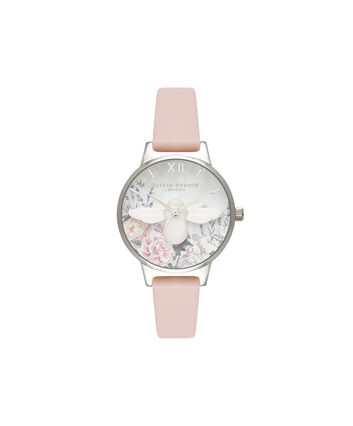 OLIVIA BURTON LONDON  Glasshouse Nude Peach & Silver OB16GH09 – Midi Dial Round in Silver and Nude - Front view
