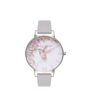 OLIVIA BURTON LONDON Painterly PrintsOB16PP23 – Midi Dial in London Grey and Silver - Front view