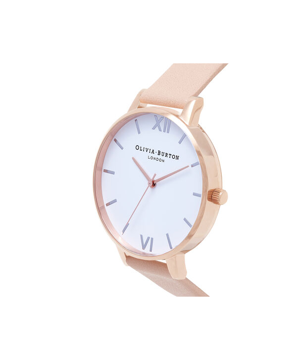 OLIVIA BURTON LONDON  Big Dial Nude Peach, Rose Gold & Silver Watch OB16BDW21 – Big Dial Round in White and Peach - Side view