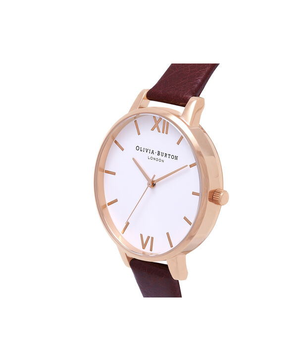 OLIVIA BURTON LONDON  White Dial Burgundy & Rose Gold Watch OB16BDW33 – Big Dial in Rose Gold, White and Burgundy - Side view