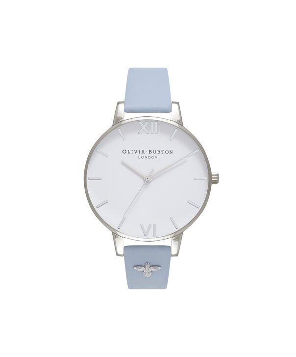 OLIVIA BURTON LONDON  3D Bee Embellished Strap Silver Watch OB16ES16 – Big Dial Round in White and Silver - Front view