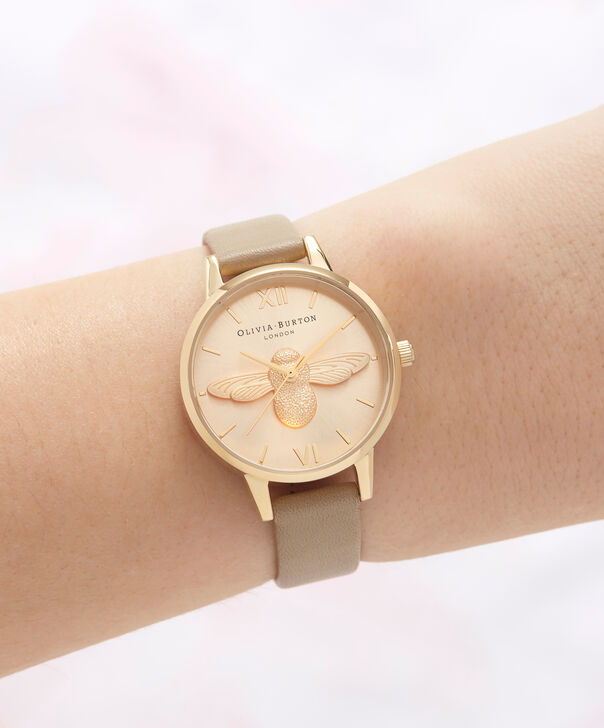 OLIVIA BURTON LONDON  3D Bee Sand & Gold OB16AM150 – Midi Dial Round in Gold and Brown - Other view