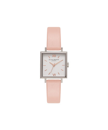 OLIVIA BURTON LONDON Square DialOB16SS22 – Midi Dial Square in Dusty Pink and Rose Gold - Front view